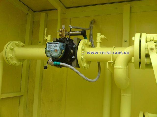 Измерительный участок трубопровода с ротационным счетчиком газа, датчиками давления и температуры