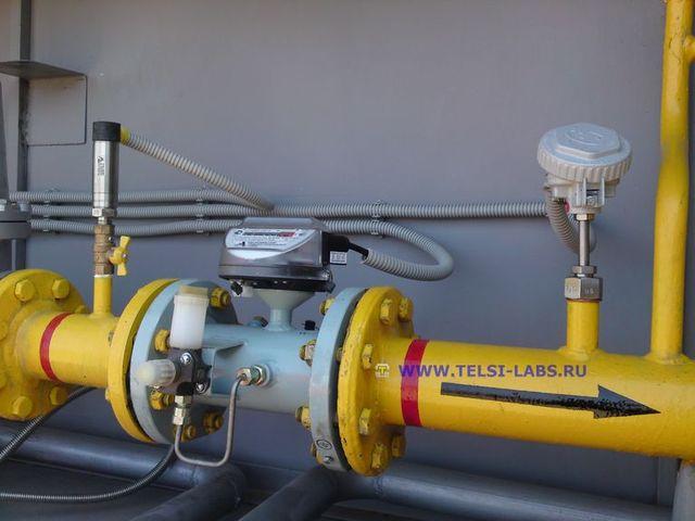 Измерительный участок трубопровода с турбинным счетчиком газа, датчиками давления и температуры