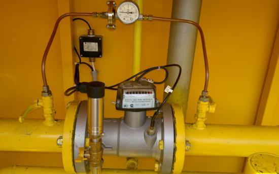 Счетчик газа с датчиком перепада давления, датчиком температуры и термометром